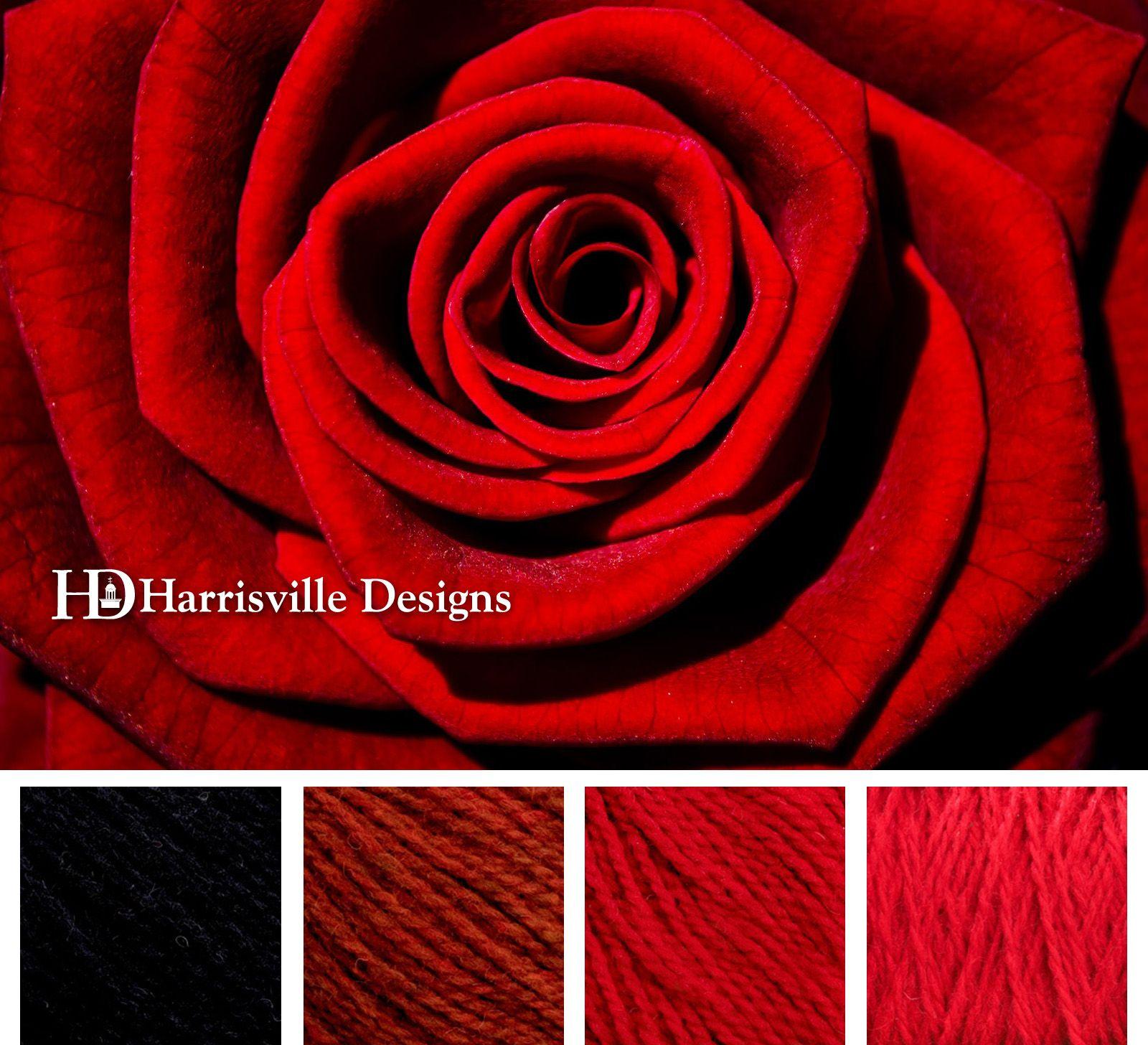 Rose color palette featuring Harrisville Designs SHETLAND yarn ...