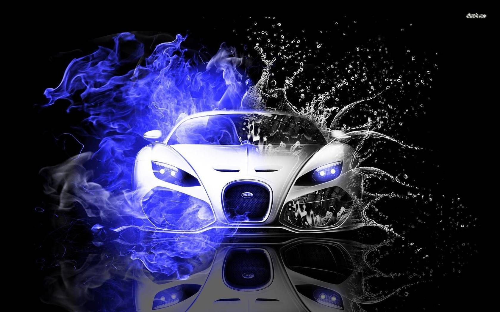 Attirant Bugatti Veyron In Fire And Water Wallpaper   Car Wallpapers   #45751
