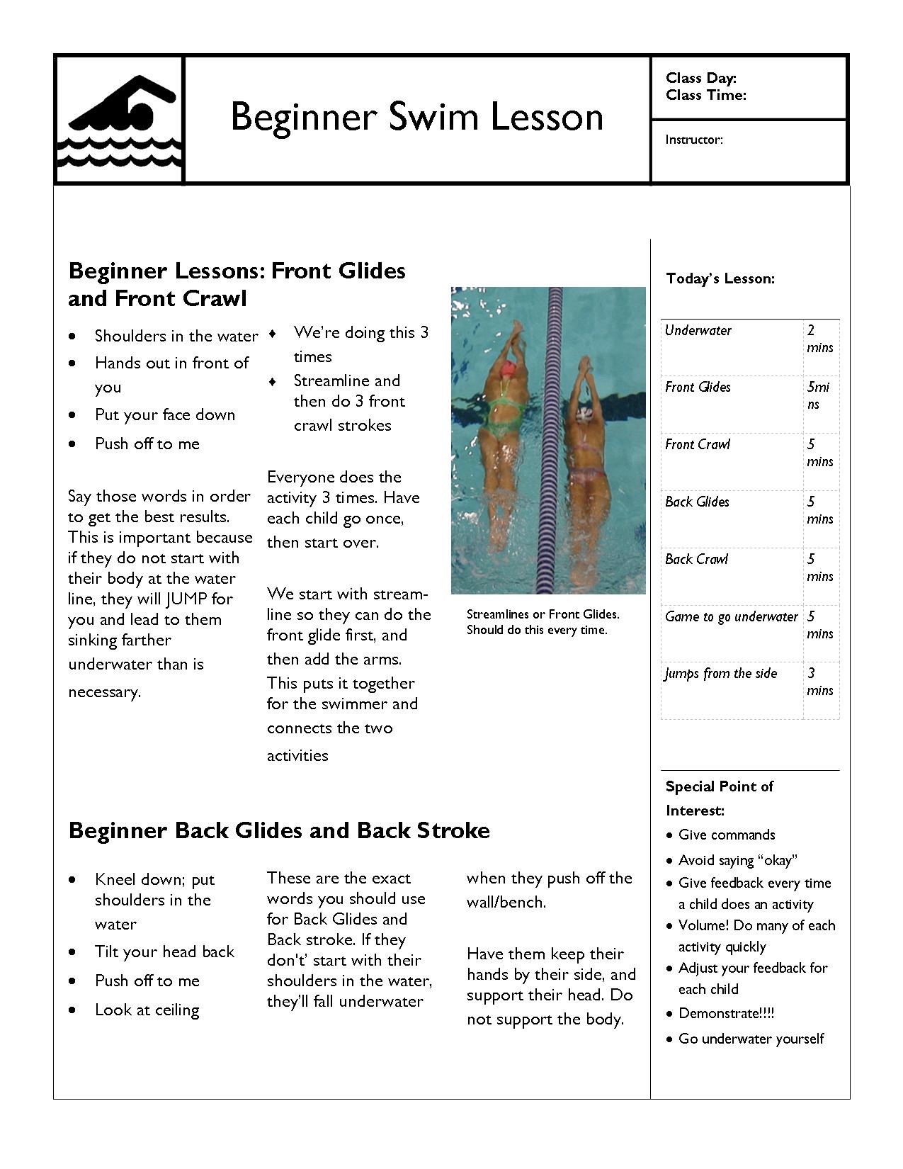 Swim Lesson Plan Beginner Lesson Template