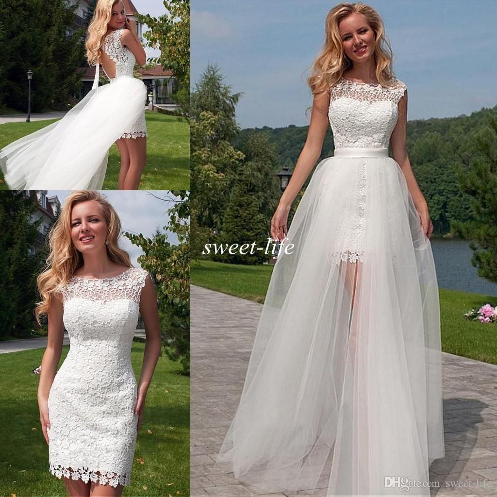 lace beach wedding dresses with detachable train tulle backless