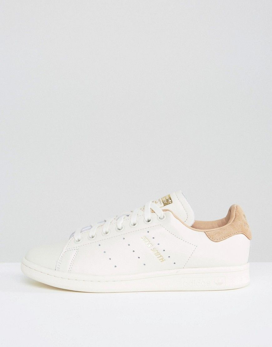 sports shoes 76d8f ca2e3 adidas Originals Off White Stan Smith Sneakers With Tan Trim - Cream