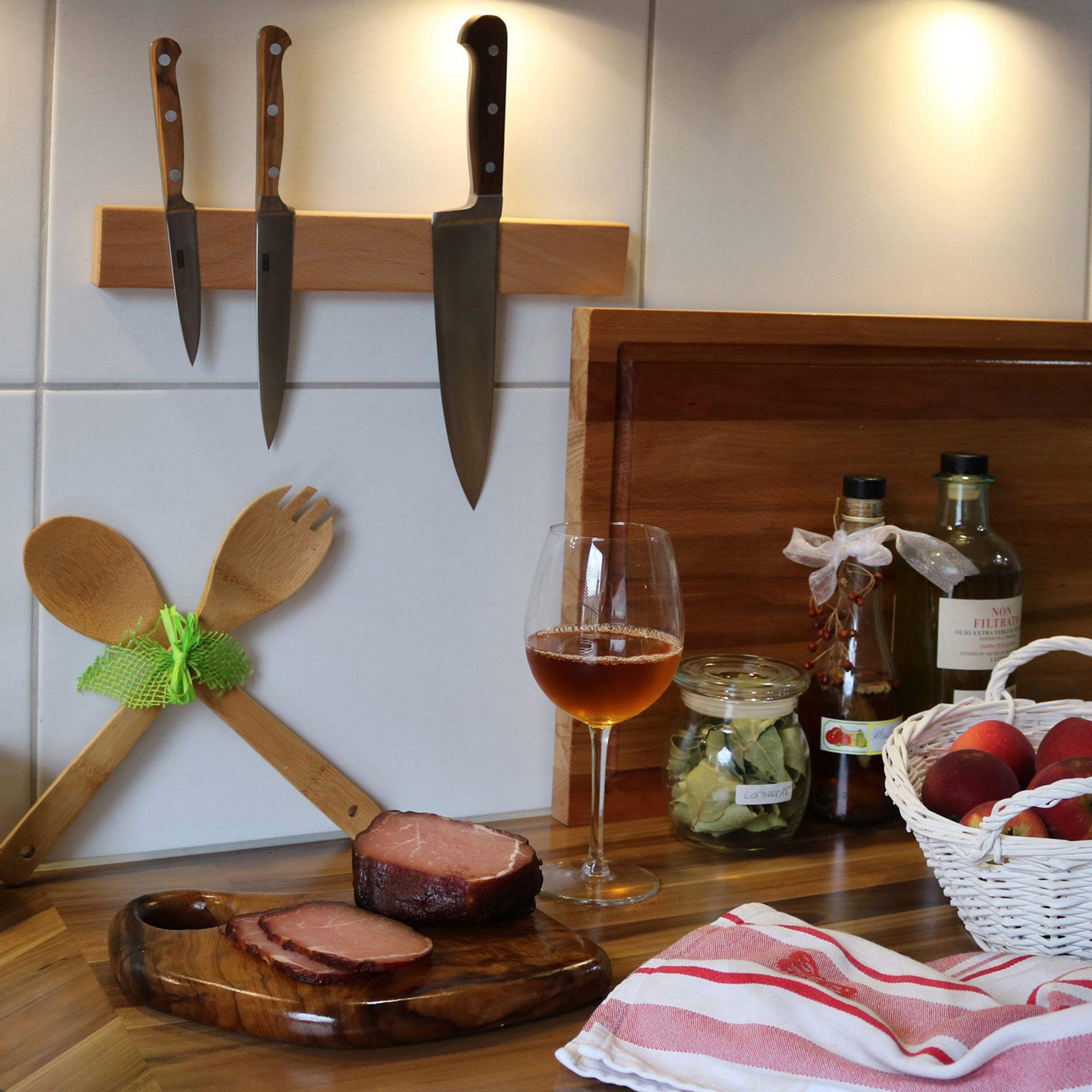 NATUREHOME Schlüsselbrett Magnetleiste für Messer Eichen-Holz geölt 350mm