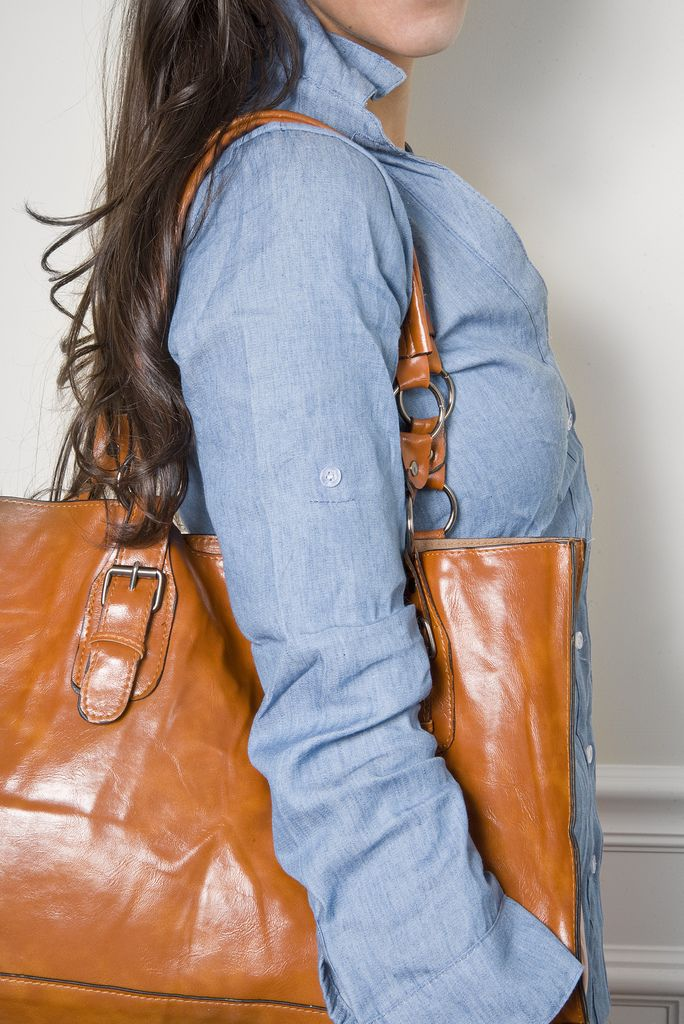 Chambray and brown leather <3