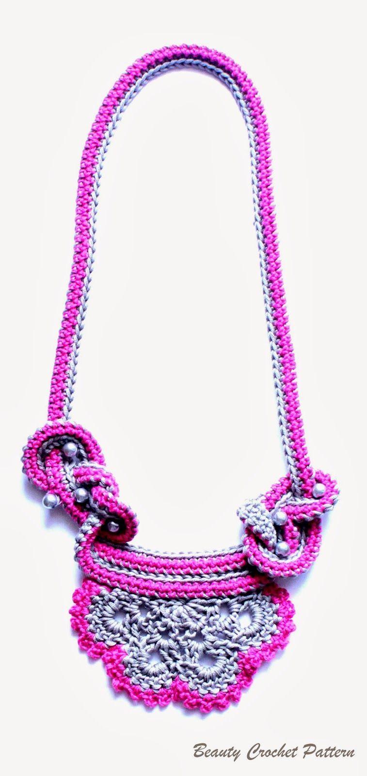 Beauty Crochet Pattern: Crochet Two Colors Necklace Pattern ...