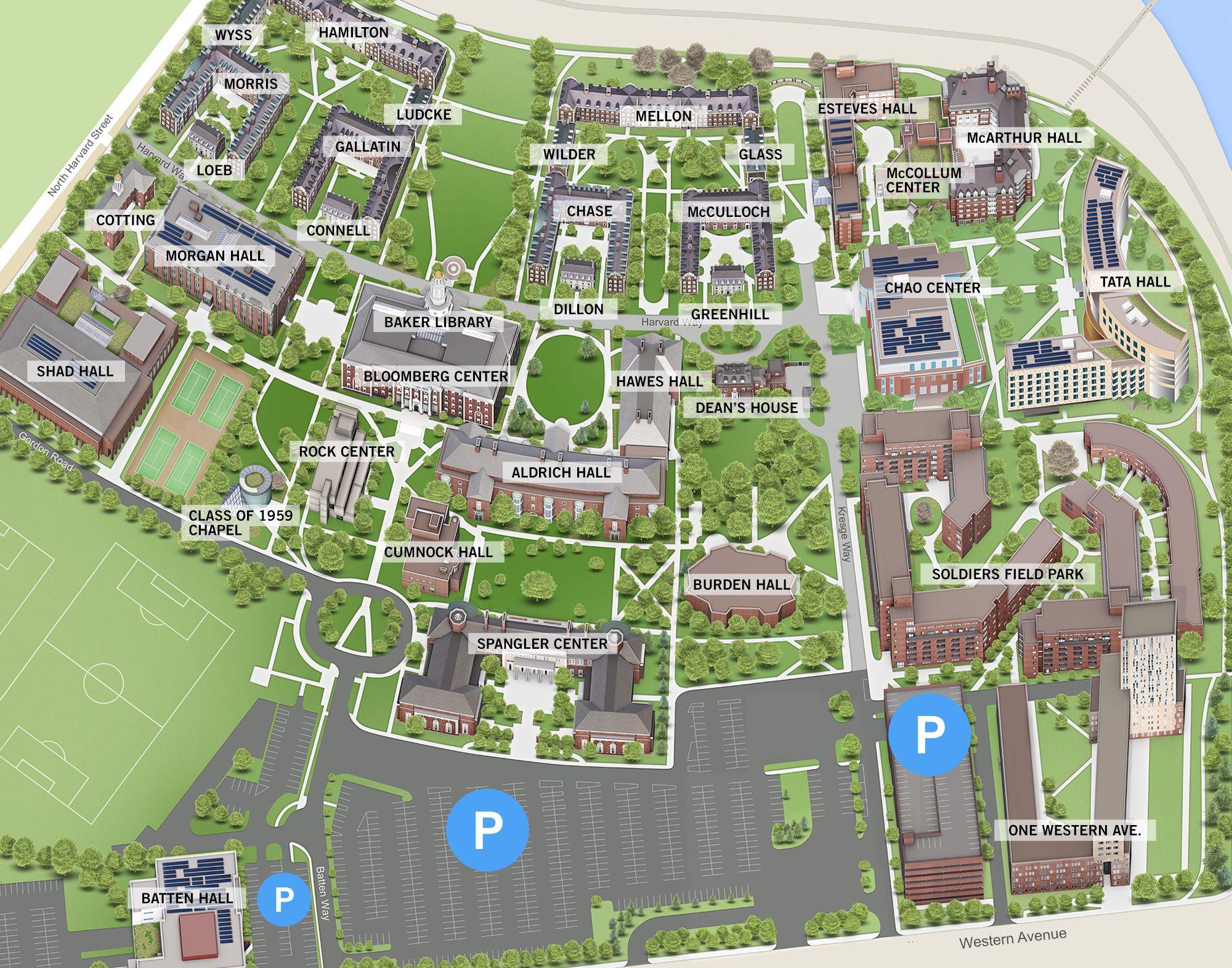 Map Harvard Business School Hbs 40th Reunion Campus Map