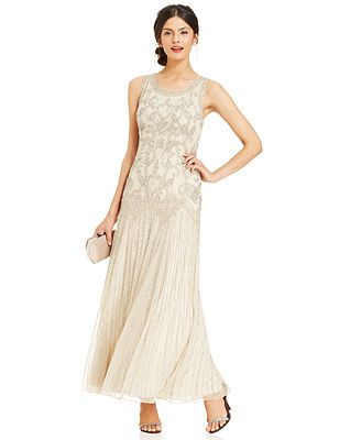 fa6273fddb7 Pisarro Nights Sleeveless Beaded Sequined Gown. Pisarro Nights Sleeveless  Beaded Sequined Gown Macy s Rehearsal Dinner Attire