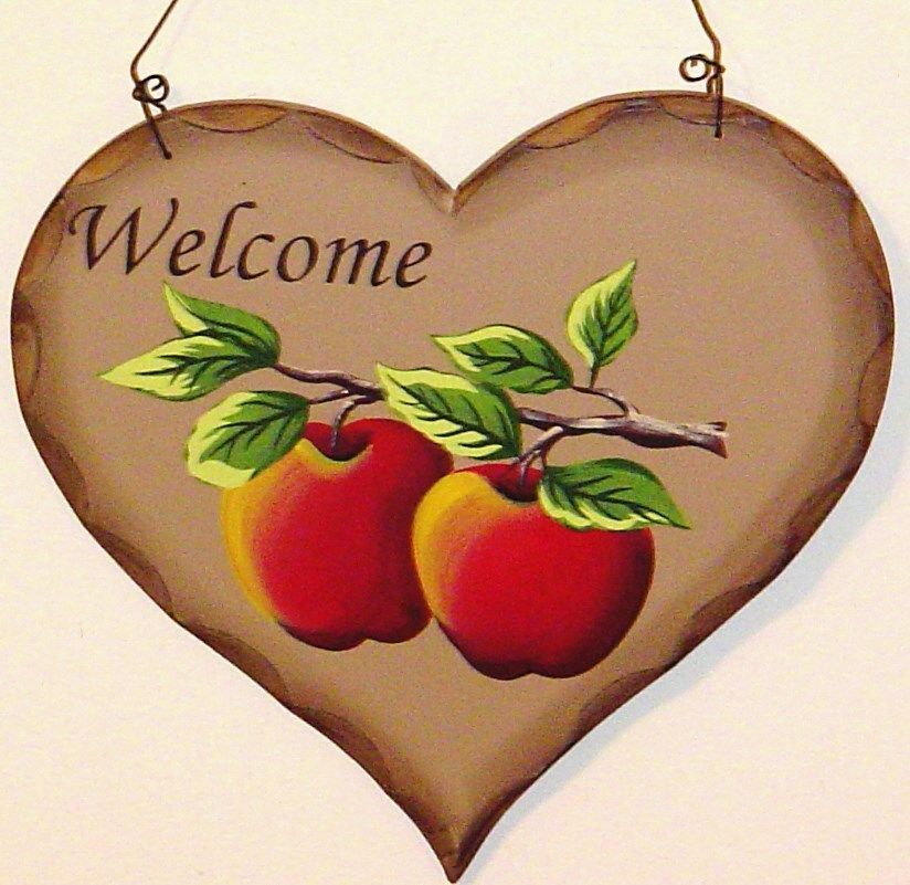 Superieur Rustic Country Wood WELCOME Sign Apples Home Decor New #Country