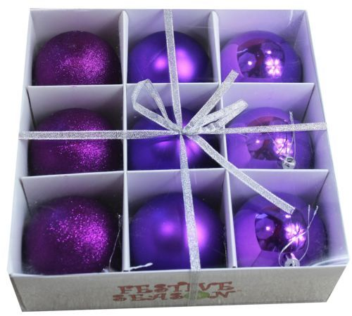Purple Balls For Decoration 9Pcs Home Shatterproof Holiday Christmas Tree Balls Ornaments