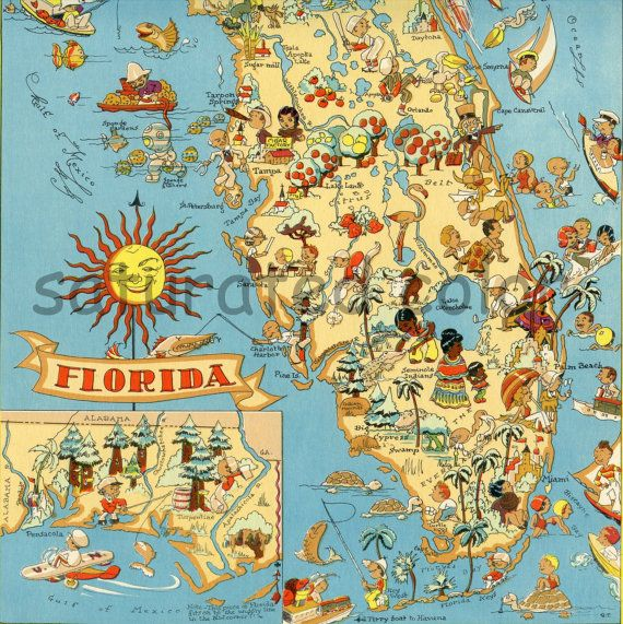 Antique Florida Map 1930s