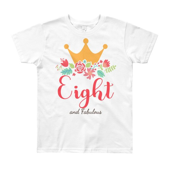 8th Birthday Girl Outfit T Shirt Trendy Eight Year Old Gift Crown Eighth Birth