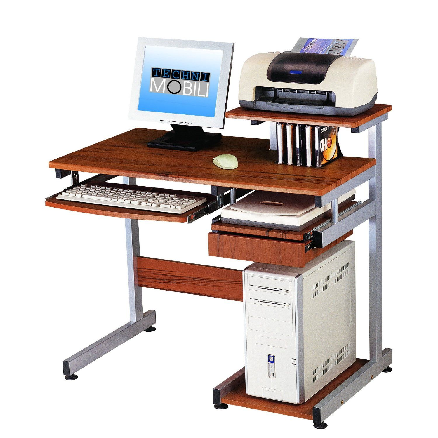 wooden puter desk plete with drawer for keyboard and scanner CPU and tiny table to put