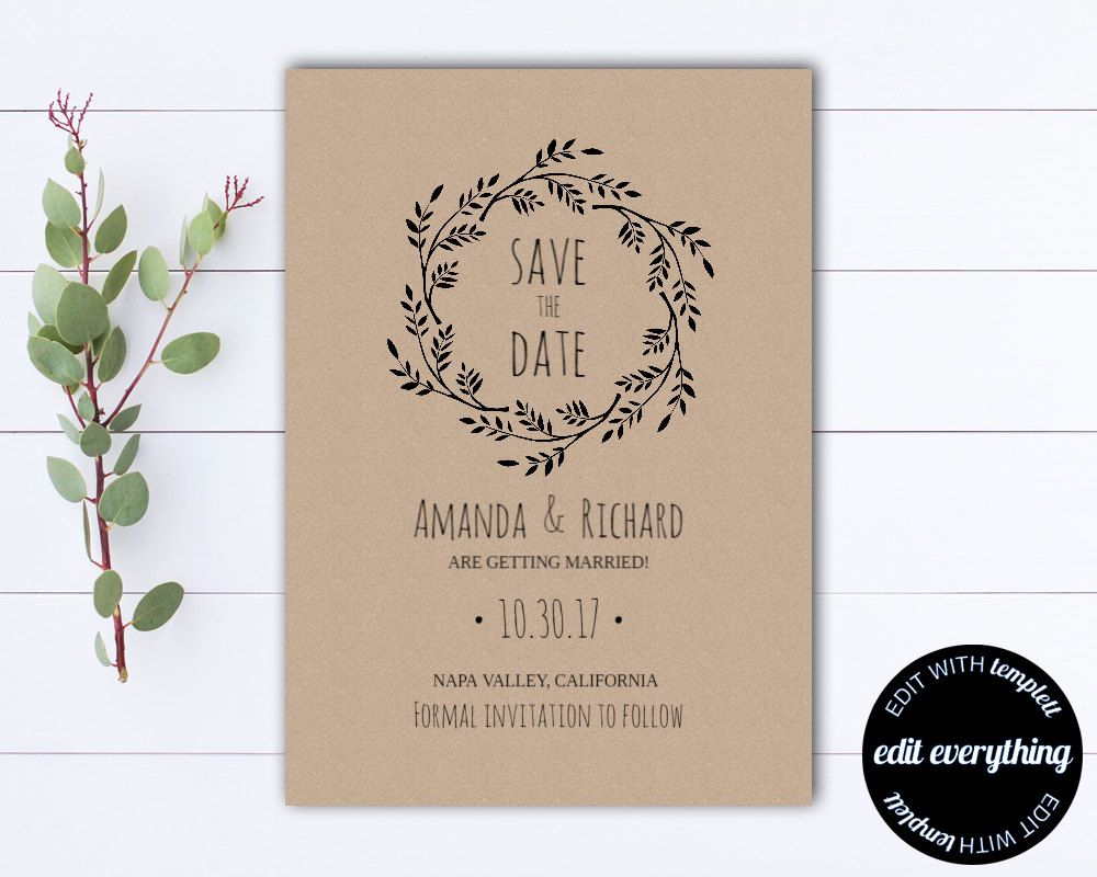 Rustic Save The Date Wedding Template  Diy Save The Date Card