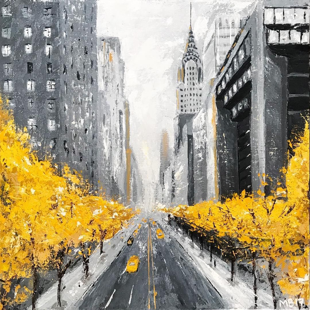 Margarita Buttenmueller On Instagram Sold New Painting New York In Fall Acrylics On Canvas 20 In 2020 City Painting New York Painting Cityscape Painting