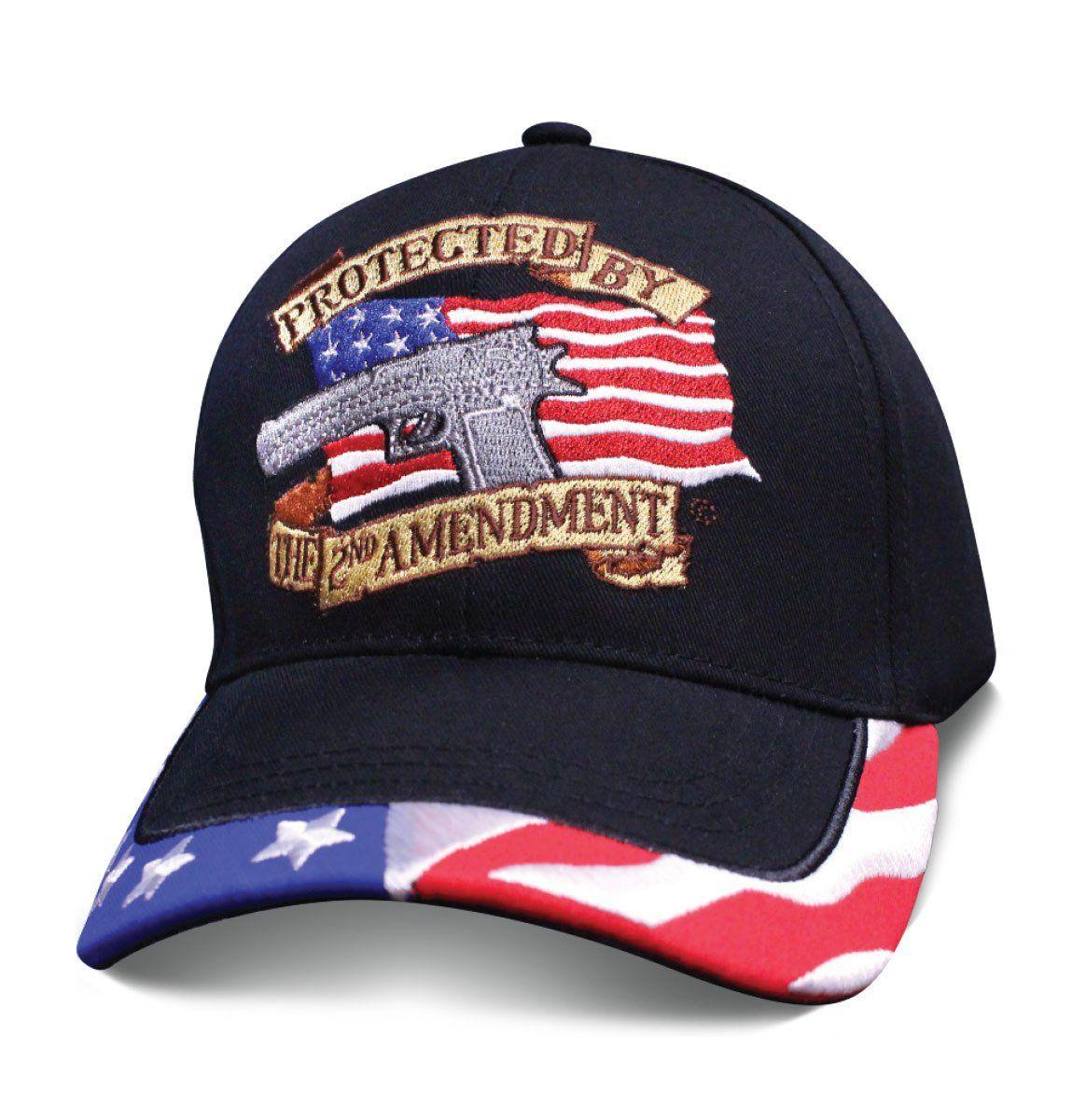 23871d7b5 Patriotic Mens Hat PROTECTED BY THE 2ND AMENDMENT American Flag Cap ...