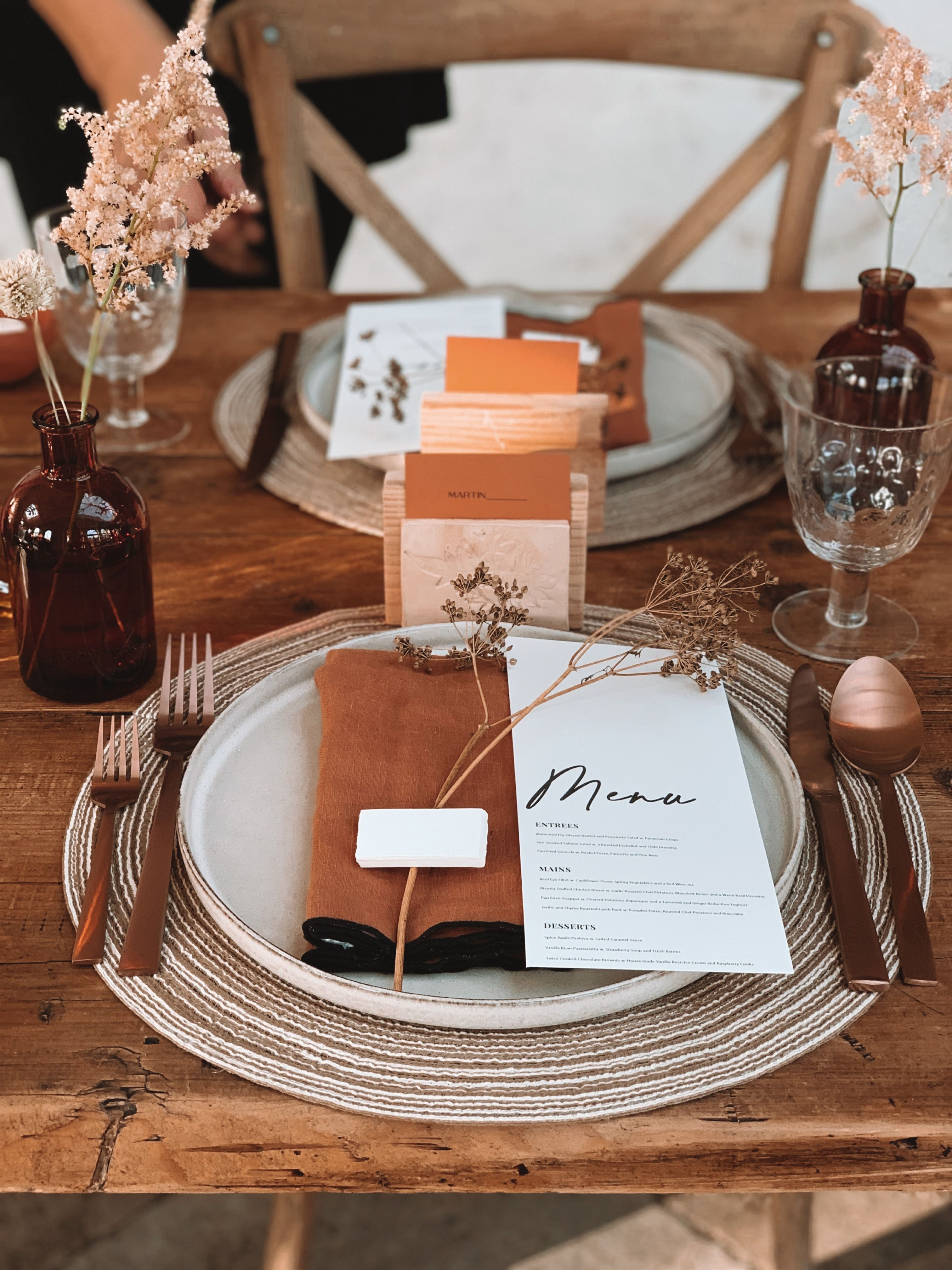 Wedding table place setting for guests from the Clay Rose collection by Smith & The Magpie
