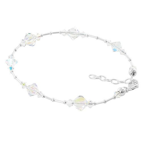 Sterling Silver Swarovski Elements Clear Ab Bicone Crystal Ankle
