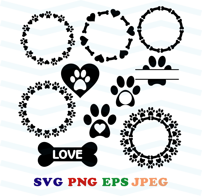 Dog Monogram Svg Love Dog Svg Paw Svg Circle Monoram Round Monogram Split Monogram File For Cricut Silhouette T Shir Monogram Frame Cricut Monogram Svg