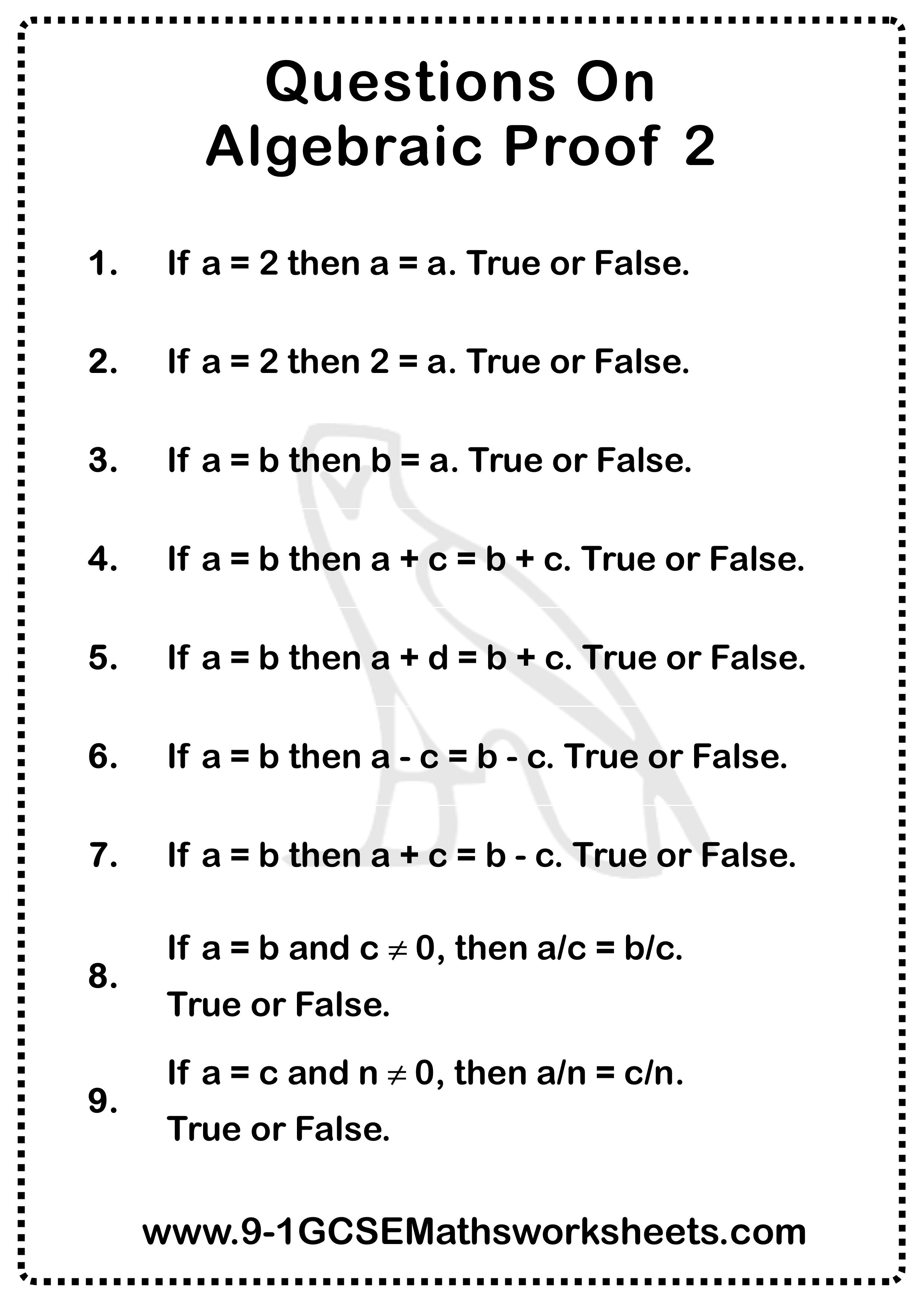 Algebraic Proof Questions 2   Algebraic proof [ 3508 x 2480 Pixel ]