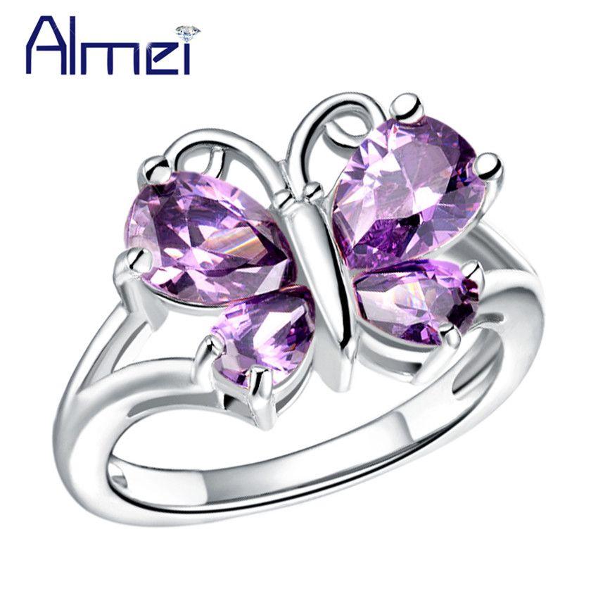 Almei 패션 화이트/퍼플 돌 나비 반지 CZ 다이아몬드 쥬얼리 유행 2016 로즈/화이트 골드 도금 Anillos J295