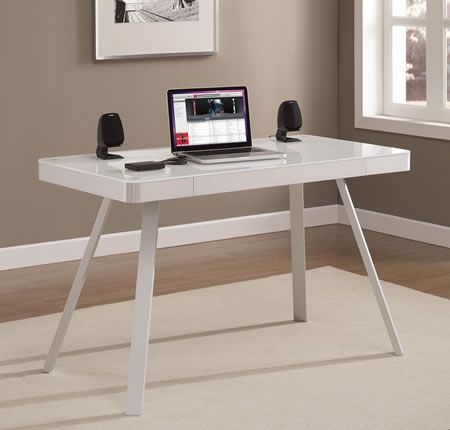 White glass finish Concealed desk surface flips down into fully ...