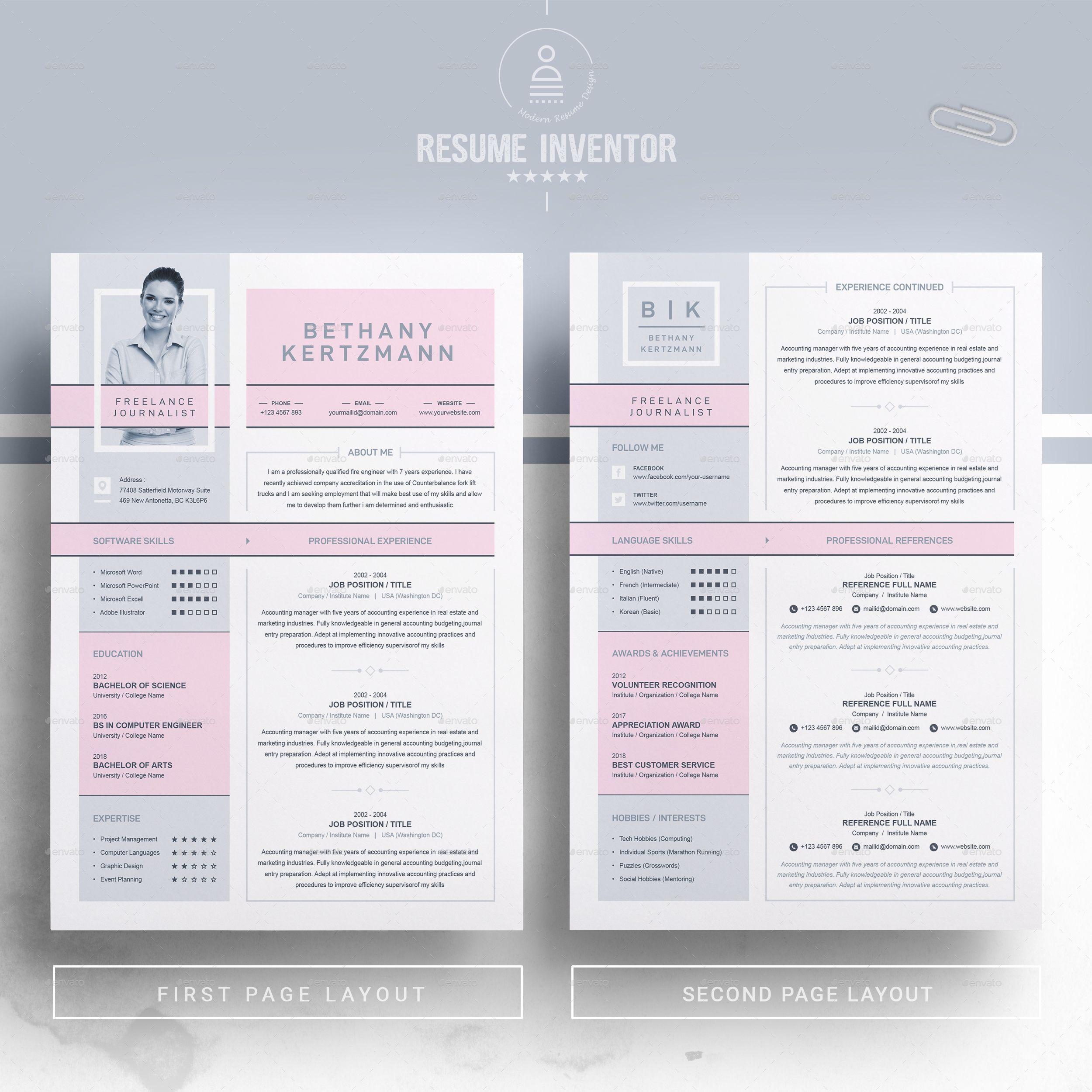 Creative Cv Resume Design For Freelance And Journalist Cv Design Template Curriculum Vitae Template Cv Design