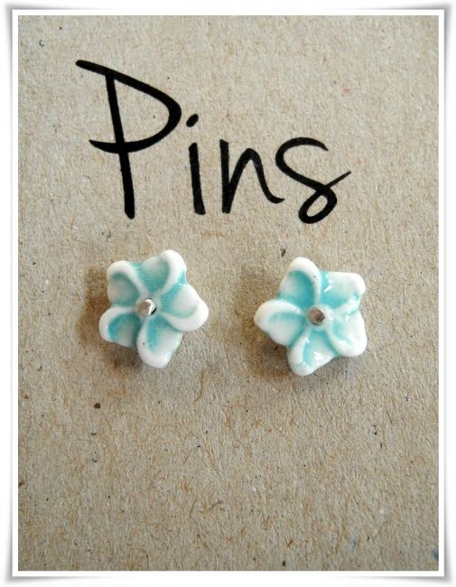 Tiny flower porcelain ear studs - White with dark mint green sterling silver backs and pins - Gloss -