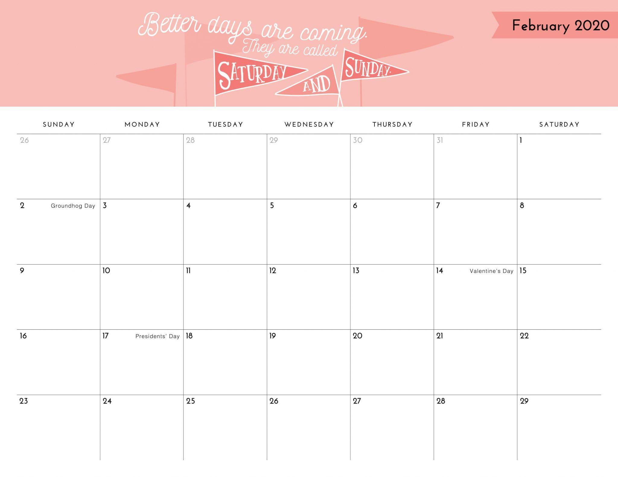 Cute February 2020 Calendar Template in 2020 | 2020 ...