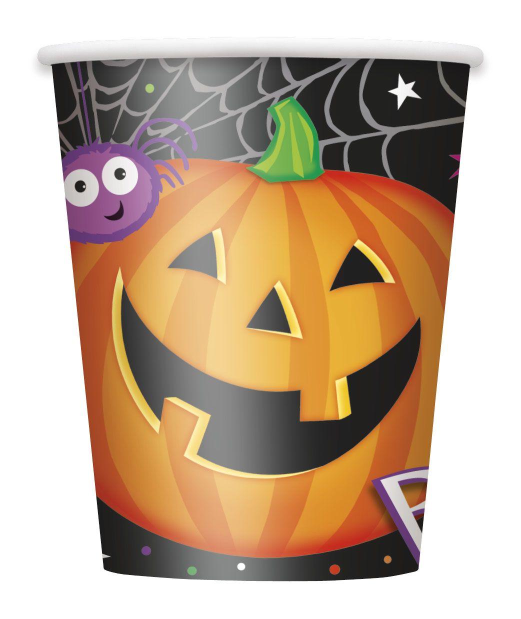 8 Gobelets en carton Petite Citrouille Halloween 255 ml  : Ce paquet comprend 8 gobelets en carton.Noirs, ils sont imprimés d'une citrouille affichant un beau sourire et d'une araignée violette dans sa toile.Ils peuvent contenir...