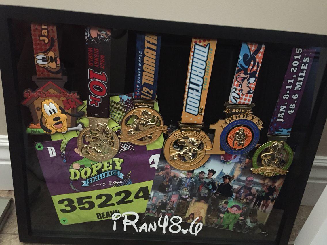 Shadow Box Running Medals Dopeychallenge 48 6 Rundisney Goal 2015 Disney Shadow Box Run Disney Run Disney Costumes