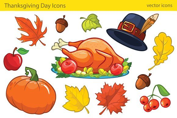 Thanksgiving Decorative Elements Cartoon Colorful Icons