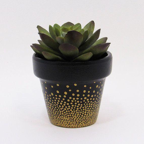 Metal plant pot indoor flower small large saucer gloss metallic