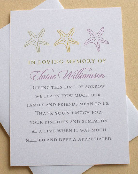 Funeral Thank You Cards With Starfishes Or Sand Dollars