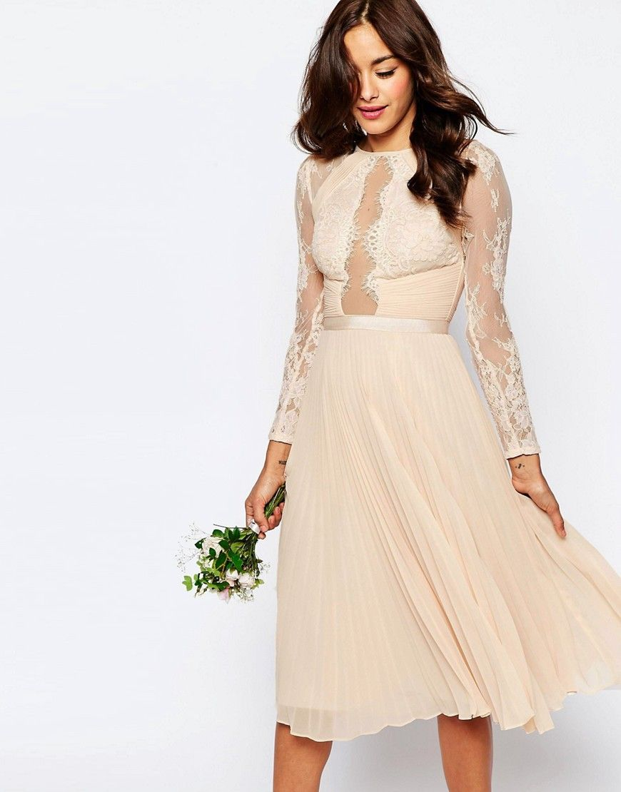 Asos wedding guest dress midi  ASOSWEDDINGPrettyLaceEyelashPleatedMidiDress  EVENTOS