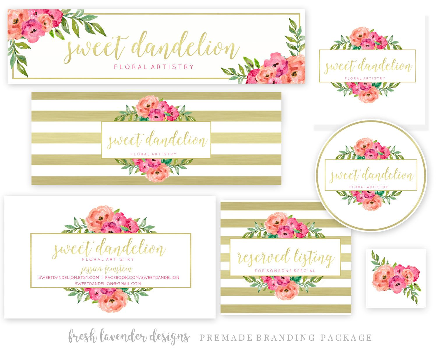 Watercolor Floral Banner Set Blog Header Set With Metallic Gold