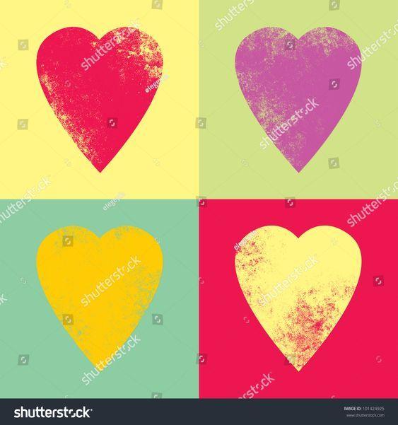 Retro hearts in the style pop-art #Ad , #SPONSORED, #hearts#Retro#style#art