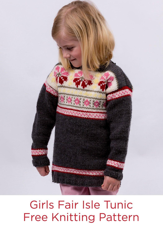 Girls Fair Isle Tunic Free Knitting Pattern in Red Heart Super Saver ...