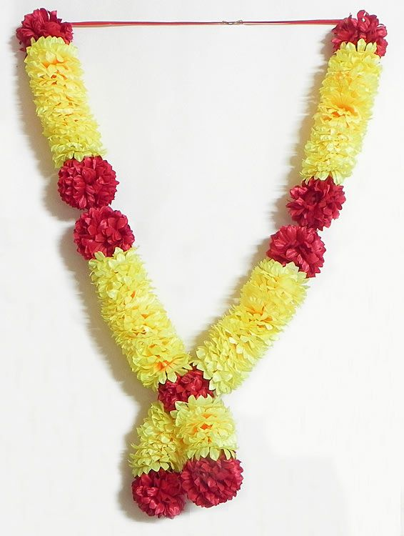 Red And Yellow Synthetic Ribbon Flower Garland Synthetic