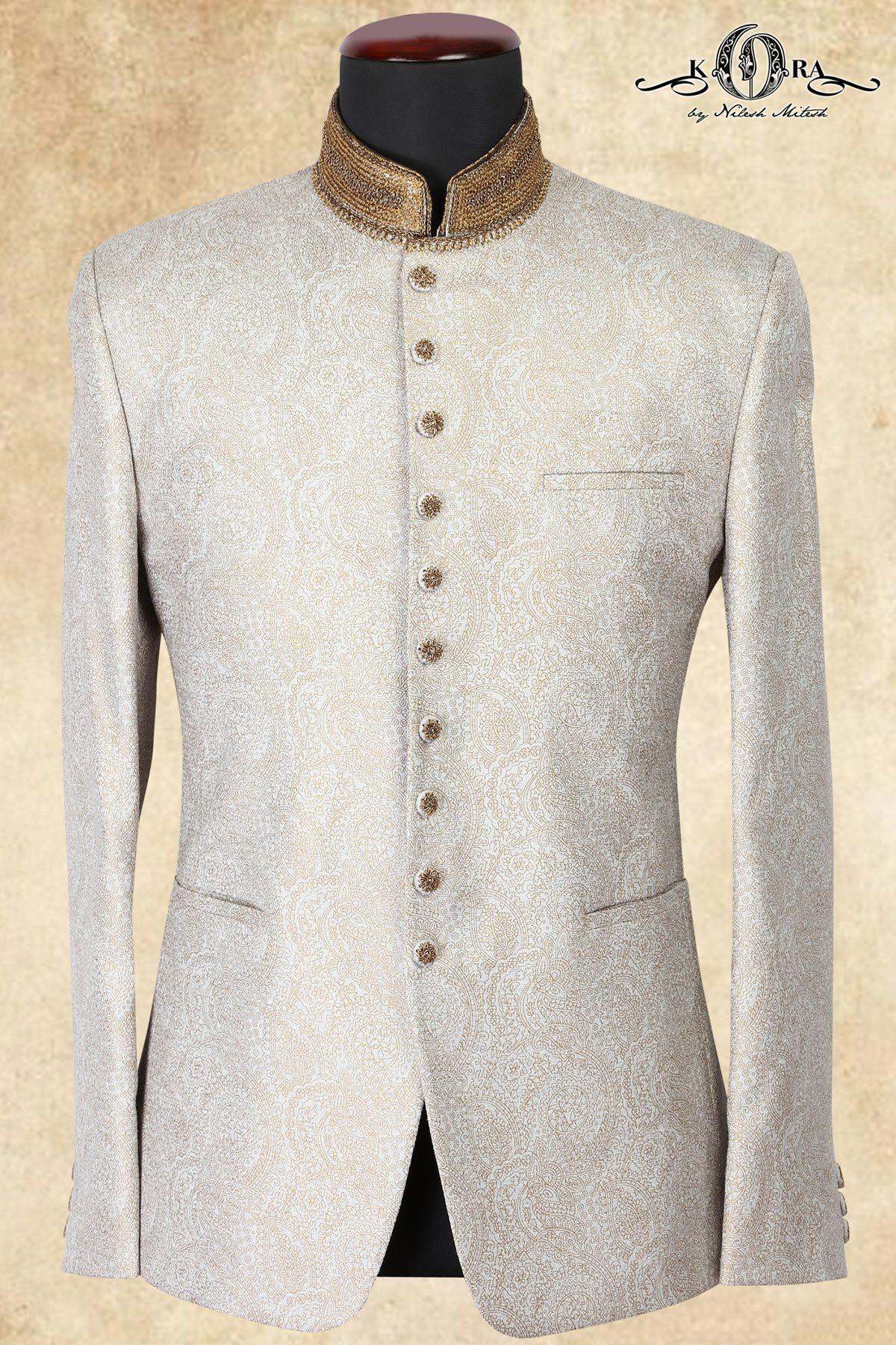 34dc867c76 Buy Off White Jute Zari Embroidered Jodhpuri Suits Online Samyakk Bangalore.  Off White Jute Zari Embroidered Jodhpuri Suits-ST666