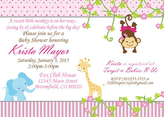 Baby Shower Jungle Theme Invite    DIY Printing by 5280PaperCrafts, $5.00