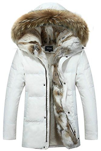 9c897bda7 APTRO Couple's White Duck Down Faux Fur Lining Long Warm Hooded Jacket White  Womens 2XL(