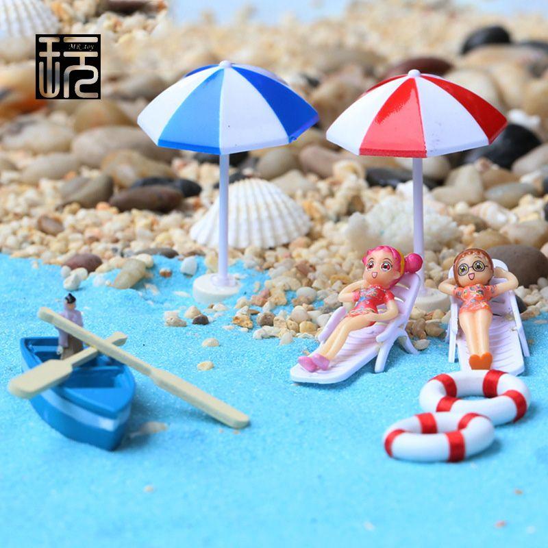 Boat Anchor Beach Chairs Sun Umbrellas Blue Sand Micro