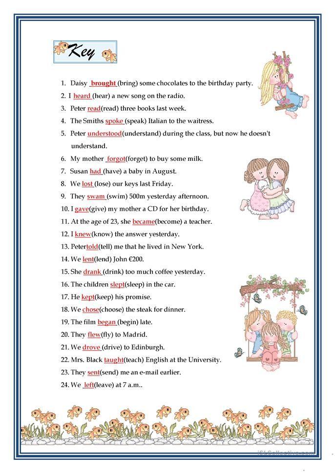 Printable Worksheets free irregular verb worksheets : PAST SIMPLE - IRREGULAR VERBS   Education   Pinterest   Irregular ...