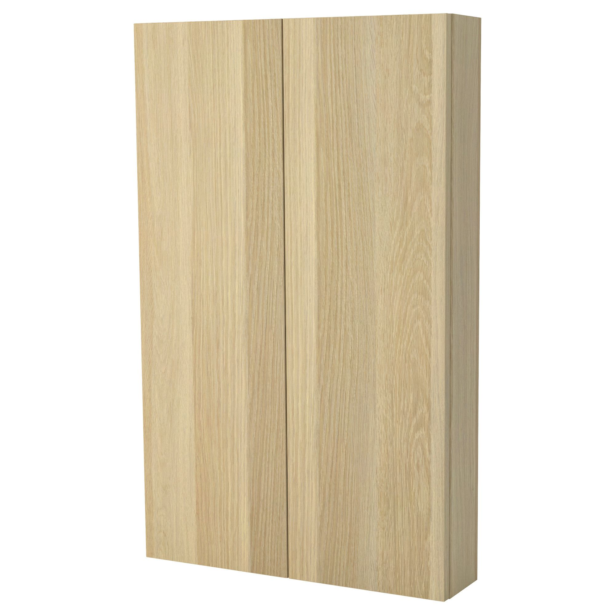 GODMORGON Wall cabinet with 2 doors - white stained oak effect ...