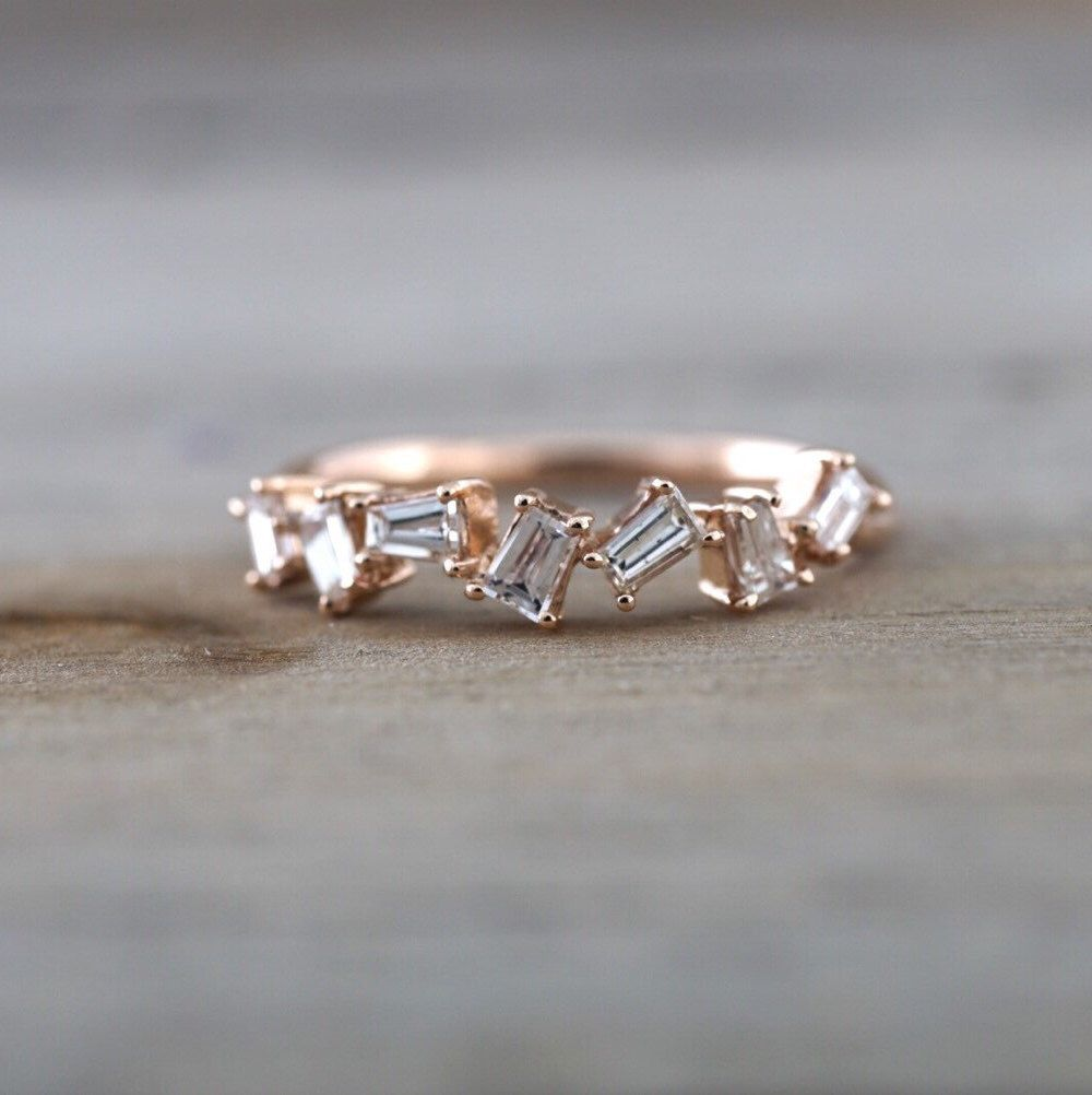 design rose band rectangle diamond twist baguette stackable cut dainty pin ring wedding gold