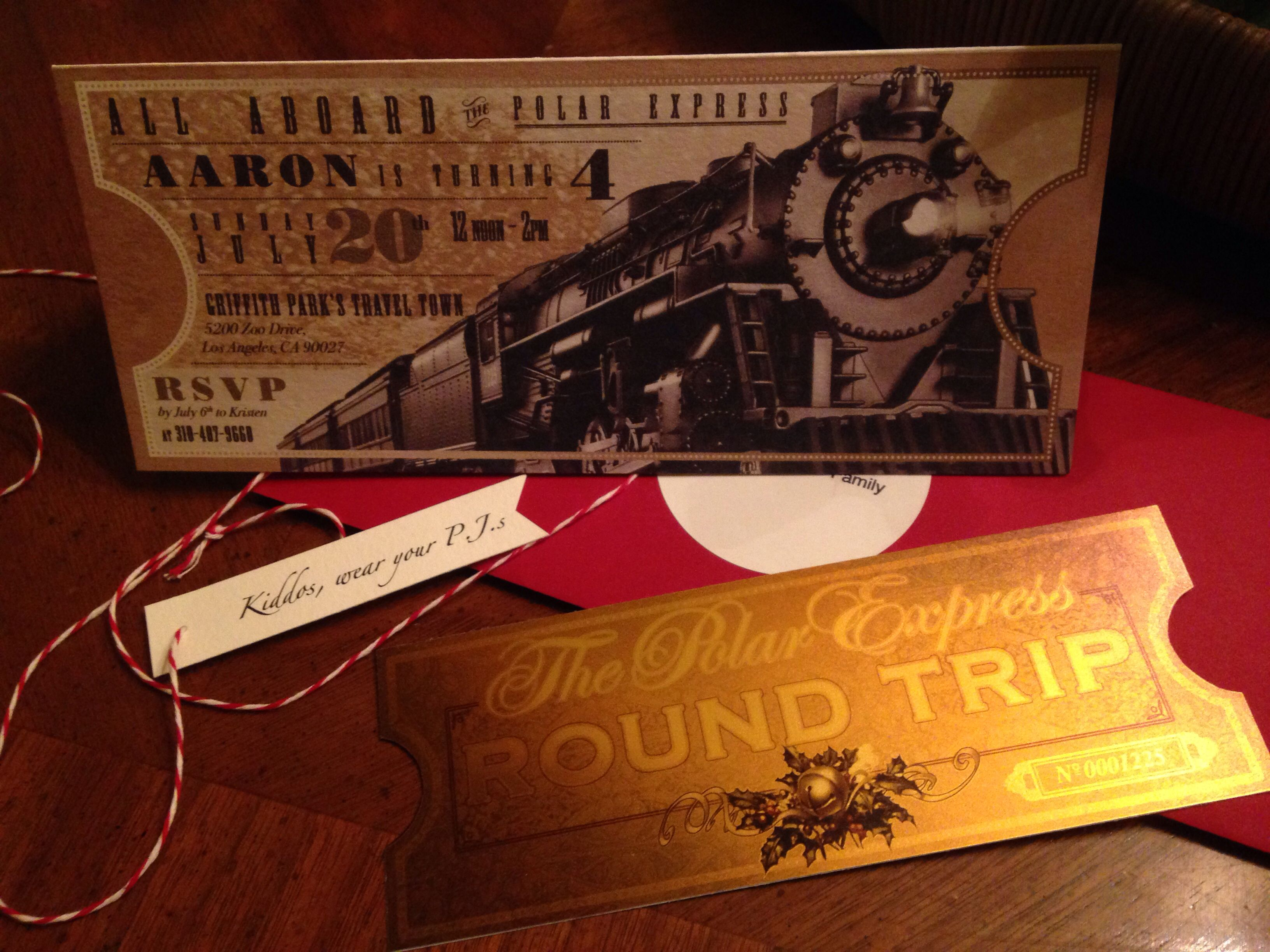 the outside view of my son s polar express birthday party invitation