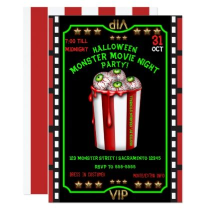 Fun Bucket Of Eyeballs Halloween Movie Night Party Card