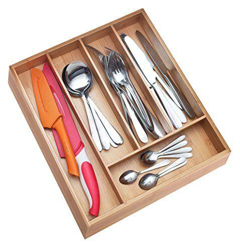 Premium Extra Deep Nonslip 5slot Silverware Organizer Bamboo Wood Utensil Drawer Organizer Wooden Flatware H Bamboo Silverware Cutlery Tray Wooden Cutlery Tray