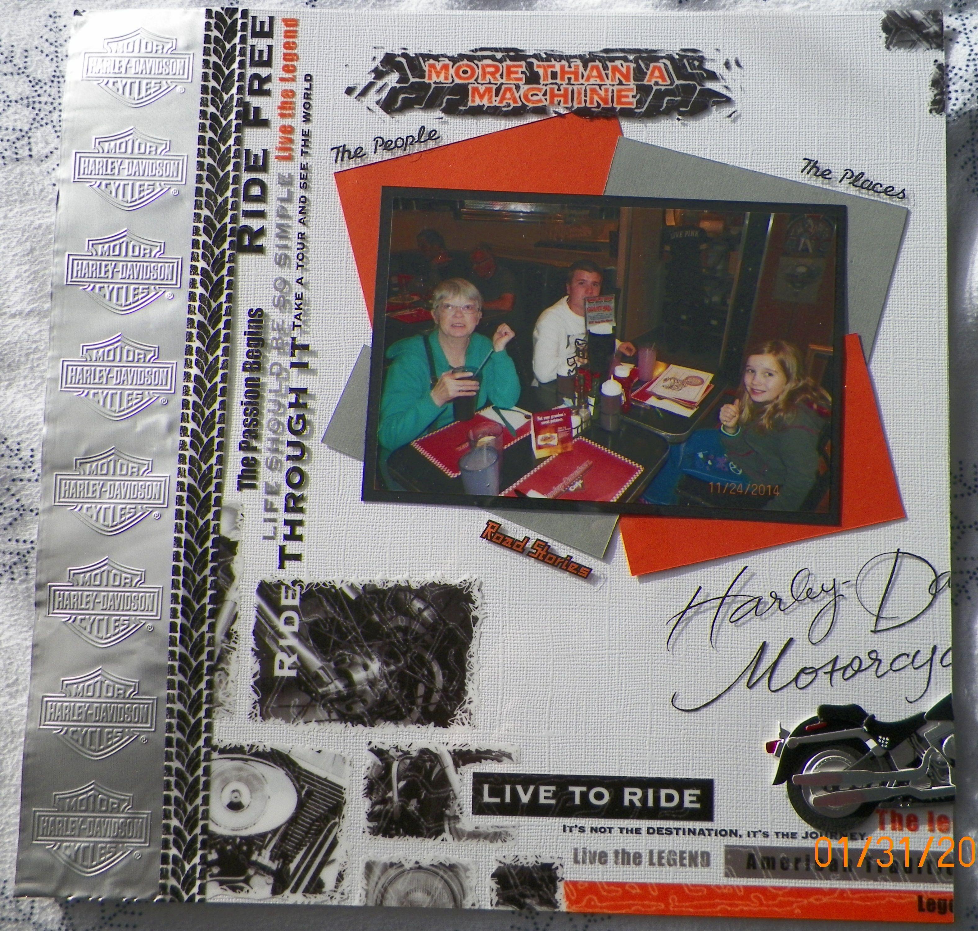 Scrapbook ideas las vegas - Handmade Scrapbook Layout Pg 1 Ek Success Harley Davidson Las Vegas