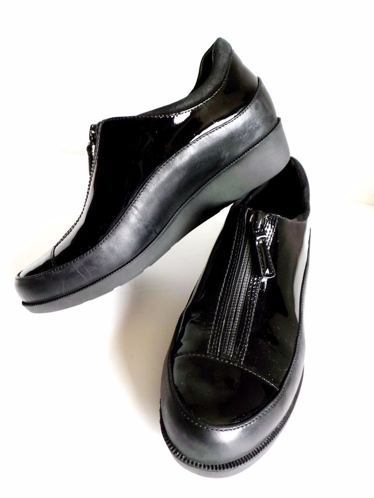 Cole Haan Nike Air Waterproof Women's Zip Up Loafers Patent Leather Black  6B EUC #ColeHaan