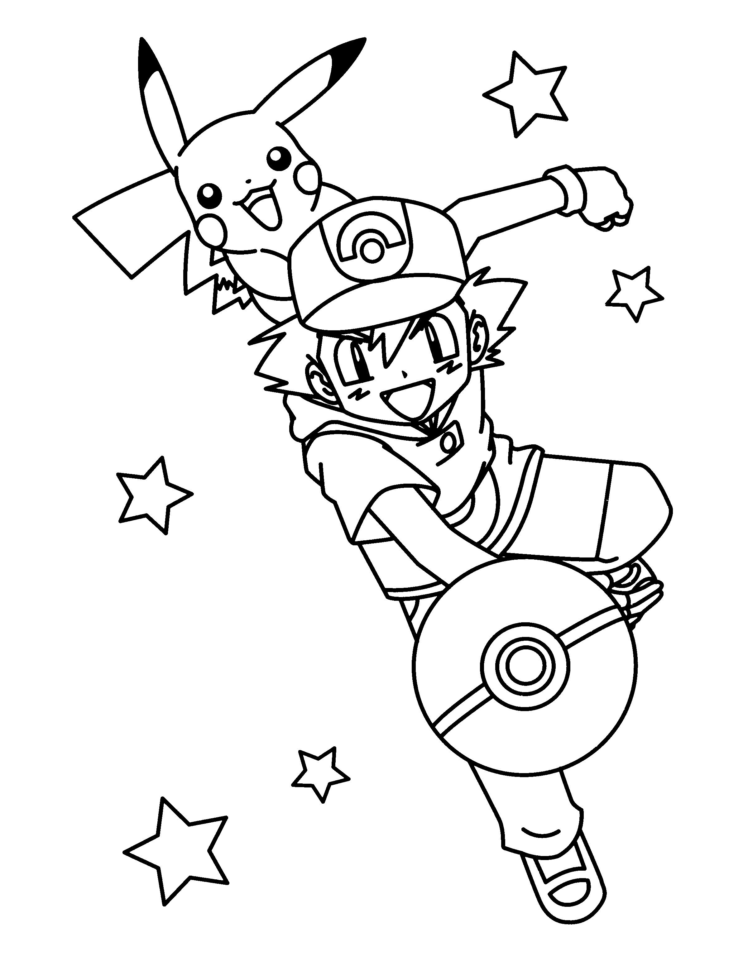 Ausmalbilder Pokemon Trainer Pokemon Trainer Ash Coloring Page